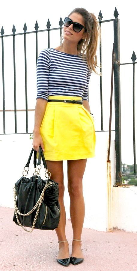 Yellow Skirt And Stripped Top